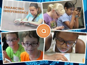 "A collage of pictures showing students using their technology. The text, ""enhancing independence"" can be seen, with the Alphapointe logo"