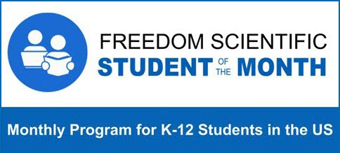 Image of the Freedom Scientific Student of the Month program logo